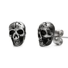 Vintage Biker Style Skulls Stainless Steel Mens Stud Earrings Rnbjewellery