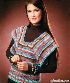 Пуловер из остатков пряжи крючком. Описание, выкройка, схемы