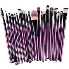 Makeup Brush, 20Pcs Cosmetic Brush , Makeup Brush Set for Eye Makeup Eyeliner Eye Shadow Eye Brow Foundation Powder Liquid Cream Blending Brush With Wooden Handle ** You can get more details by clicking on the image. (This is an affiliate link) #BrushSets