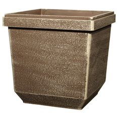allen + roth 12-in H x 12-in W x 12-in D Driftwood Plastic Planter