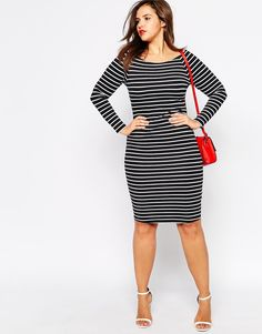Image 4 of ASOS CURVE Bardot Body-Conscious Dress In Stripe