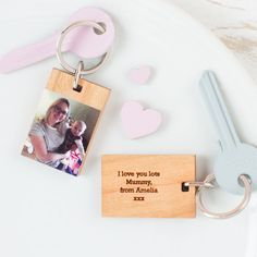 Personalised Wood Photo Keyring | Create Gift Love £14  This stunning wooden photograph keyring is the perfect gift for a friend, loved one or colleague.  http://www.creategiftlove.co.uk/products/personalised-wooden-photo-keyring  #mothersdaygifts #personalised #creategiftlove