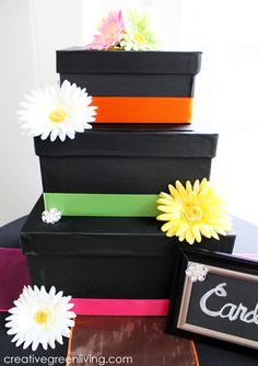 Tutorial: How to make a three tiered card box for a wedding. I love the black and bright colors on this one.