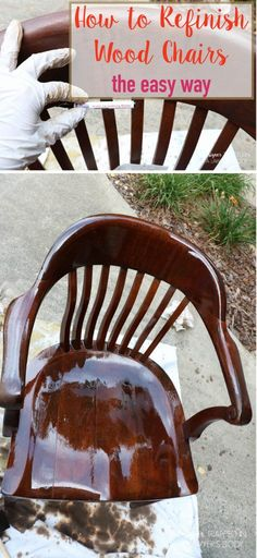 THIS IS AWESOME! Learn how to refinish wood chairs without sanding or stripping the existing finish. Full tutorial by Designer Trapped in a Lawyer's Body. #spon