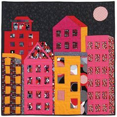 """House quilts really appeal to us, maybe because """"home is where the heart is."""" With a total of 56 free quilt and block patterns. which hous. House Quilt Patterns, House Quilt Block, Quilt Patterns Free, Pattern Blocks, Quilt Blocks, Free Pattern, Block Patterns, Fabric Patterns, Scrappy Quilts"""