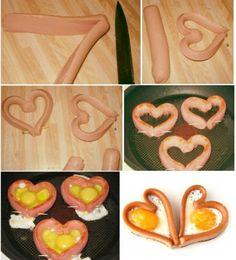 #ricette romantiche: cuori di wurstel e uova