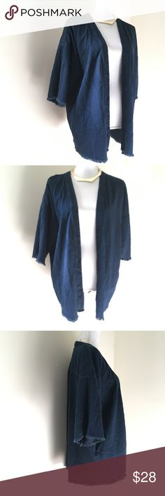 ASOS blue Chambray Kimono Style Jacket small ASOS blue Chambray Kimono Style Jacket small. In excellent pre-owned condition! Asos Sweaters Shrugs & Ponchos