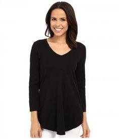 Mod-o-doc - Slub Jersey 3/4 Sleeve V-Neck Tunic (Black) Women's Blouse