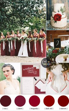 Shades of red wedding colours { burgundy,claret,dark red,maroon and wine }