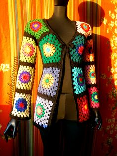 SOLD OUT - Granny Square Sweater - The Ultimate Circles To Squares Design In 32 Colors Of The Rainbow - RESERVED For Miss M