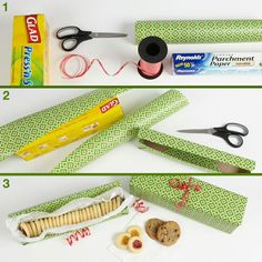 Decorated plastic wrap containers protect your holiday cookies, so you don't deliver crumbs.