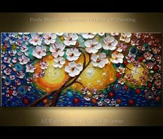 White blooms are set against a sea of morning color tones dark blue and yellow. This painting will add bright color and charm to any space. Sun Touch 48 x 24 x 3/4 deep This is a recreation of a piece which was already sold. ORIGINAL PAINTING - STRETCHED CANVAS - READY TO HANG Media: