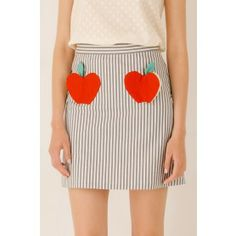 Gonna svasata con applicazioni a forma di mela #lazzari#apple#skirt#stripes
