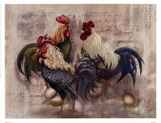 Great for 'Rooster Trio' by Alma Lee Graphic Art on Wrapped Canvas by Global Gallery Wall Art Decor from top store Rooster Art, Rooster Decor, Ceramic Wall Art, Tile Art, Wall Tile, Gallus Gallus Domesticus, Bd Art, Chicken Art, Chickens And Roosters