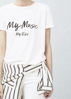 Camiseta algodón estampada | MANGO
