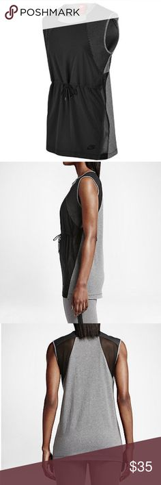 Nike Bonded Top Running Tank Gym Training Tennis Flattering combo of stretch woven, jersey and mesh for a modern take on sports-inspired style. A drawcord defines your waist, and the elongated silhouette makes it a versatile layering piece.  Waist drawcord for a personalized fit. Mesh fabric for ventilation. Bonded seams enhance durability. Forward-facing side seams create a flattering look. Fabric: Front: 91% polyester/9% spandex. Back/underarm panels/back of panels: 100% cotton.  Flat…