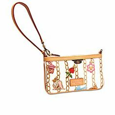 Disney Charms Wristlet by Dooney & Bourke - White | Disney StoreDisney Charms Wristlet by Dooney & Bourke - White - Delight in the wonderful world of colorful design on this wristlet by Dooney & Bourke. Favorite characters and icons from the Disney Parks fill the charm bracelet pattern created by the fashion label you love.