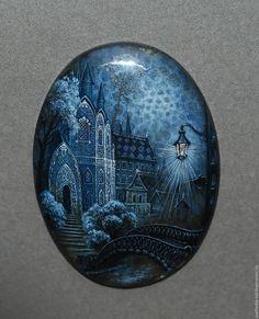Купить Замки на лабродорах - синий, лаковая миниатюра, лабродор, кабошон для украшений, живопись маслом