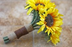 Sunflower Wedding Bouquet - Rustic Country Chic Wedding