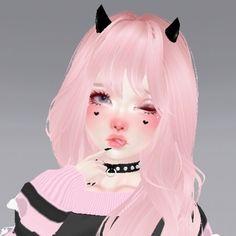 Baby Pink Aesthetic, Aesthetic Girl, Arte Emo, Virtual Girl, Human Icon, Cartoon Profile Pics, Couple Cartoon, Matching Pfp, Cybergoth