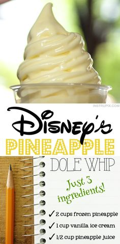 summer desserts Quick and easy copycat Disney Dole Whip Recipe made with just ingredients! Frozen pineapple, vanilla ice cream and pineapple juice. So simple to make! An easy summer dessert recipe while hanging out by the pool. Kids love this cold treat! Easy Summer Desserts, Summer Dessert Recipes, Desserts For A Crowd, Fun Desserts, Recipes Dinner, Easy Desserts To Make, Pineapple Dessert Recipes, Easter Desserts, Summer Treats
