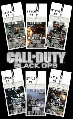 Call of Duty Set of 12 VIP Party Invitation Passes - I have a strong feeling that I will need these for my son's birthday!!