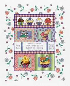 Janlynn Sweet as a Cupcake Baby Birth Record Counted Cross Stitch Kit # 021-1456