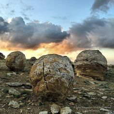 Photograph by @JohnStanmeyer  Massive round rocks many three meters or larger strewed across the steppes of western Kazakhstan in the Mangystau region near the village of Shetpe. These large spherical stones were likely formed by the currents of ancient seas that once covered this vast region. (FYI no swirly things do not appear around these spherical shaped rocks. That is tripy Matter app.  I am publishing the making of this National Geographic story on my #Snapchat account @stanmeyer…