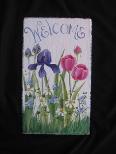 Decorative Slate Signs Endearing Hand Painted Slate Welcome Signlisawinkelbauerbane On Etsy Review