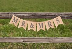 MR & MRS Burlap Wedding Banner, photo prop, sign, garland on Etsy, $22.00