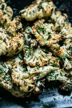 Roasted Garlicky Cauliflower Steaks with Lemon and Parsley