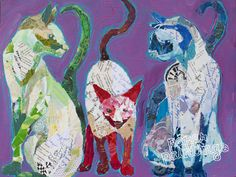 Original Art up for Grabs, Cat Family, 16x12 on flat birch panel, Elizabeth St. Hilaire