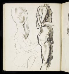 Henri Gaudier-Brzeska 'Three profile studies of male nude forms', 1911