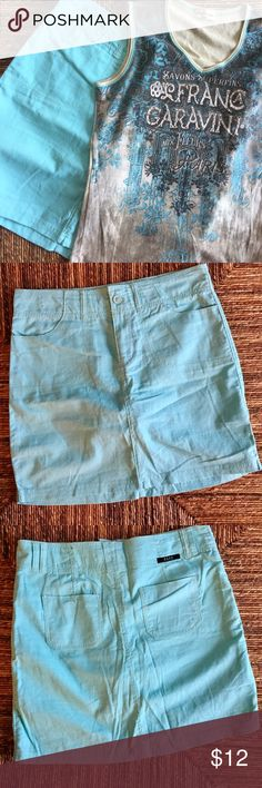 """Skort Beau Dawson Sz 8 Linen Blend Sea Glass Green Mint/Seafoam/Seaglass green summer on Cape Cod skirt. Don't worry about the wind in this...you're covered. Cargo pockets in front, 2 flat real pockets in back. Front zip and button with wide waist band and wide belt loops. Machine wash and dry. V Neck tank that matches the skort is also listed. Bundle 2 items and save 20%.  Waist approx 32""""; length 17.5"""". beau Dawson Skirts Mini"""
