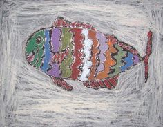 Glue fish-use glue to design fish, then when dry use oil pastels to color. The  glue lets the black or colored paper below show through, since it dries clear. =)