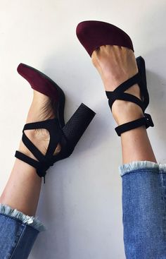 Vegan Atwood Heel in Black/Bois. Exclusively through Free People. $128