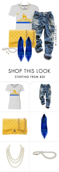 """Sigma Gamma Rho"" by visionsbyjo ❤ liked on Polyvore featuring Levi's, Chanel, Dolce&Gabbana and Carolee"