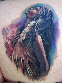 Native American Tattoos : Page 5 Tattoo Girls, Pin Up Girl Tattoo, I Tattoo, Feather Tattoos, Love Tattoos, Beautiful Tattoos, Tatoos, Awesome Tattoos, Beautiful Body