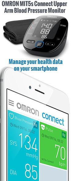 OMRON MIT5s Connect Manage your health data on your smartphone      Intellisense technology ensures accurate and comfortable measurement     Easy Blood Pressure Colour Indicator     Morning Hypertension Tracker     Advanced Averaging Functioning     Irregular Heartbeat Detection     Cuff Wrap Guide     2 users x 100 memories     Body Movement detection Irregular Heartbeat, Body Movement, Blood Pressure, In A Heartbeat, Monitor, Connection, Smartphone, Personal Care, Memories