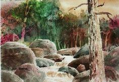 Valya Creek by Jim Burns Watercolor ~ 7.5 x 10.5