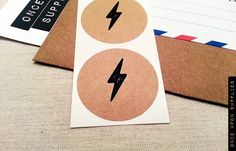 Lightning Bolt Round Stickers / Envelope Seals / Labels / Gift Embellishment / Kraft Circle Labels | Once Upon Supplies