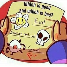 I don't get what the eye is, but I know the top is flowey and the middle is sans.