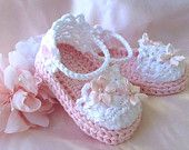 Baby Girl Light Pink Sandals, Baby Cotton Pink Sandals, Baby Girl Crochet Pink and White Sandals