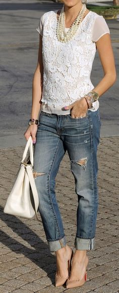Lace Top & Ripped Jeans ♥
