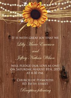 Sugar and Spice Invitations: Sunflower Wedding Invitations-Fall ...