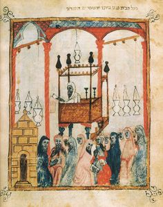 Full-page miniature from a fourteenth-century Spanish Haggadah, showing a synagogue interior. Note the raised loft-style bimah, the ner tamid overhead, and the way the hanging lamps.are suspended from the beams overhead.