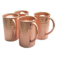 Set of 4 Drinkware Accessories Hammered Copper Moscow Mule Mugs Cups Capacity 16 Ounce