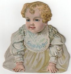Old Schilling's Best Trade Card Advertising - Die Cut Baby