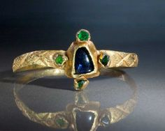 Medieval Gold, Sapphire & Emerald Ring
