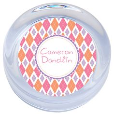 """This 1"""" thick glass paperweight is beautifully handcrafted in the U.S.A."""